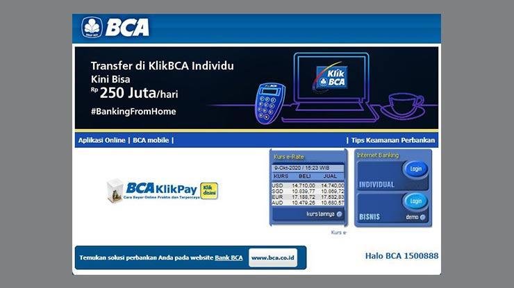 Lewat Internet Banking BCA