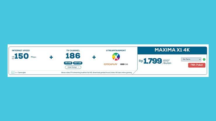 Paket Internet 150 Mbps Maxima X1 4K