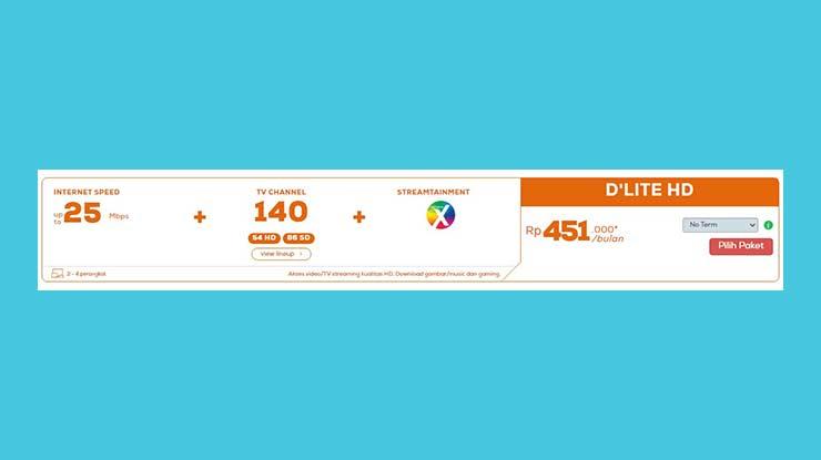 Paket Internet 25 Mbps Dlite HD