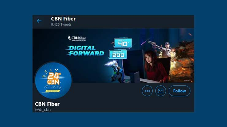 Pusat Pelayanan CBN Fiber di Media Sosial