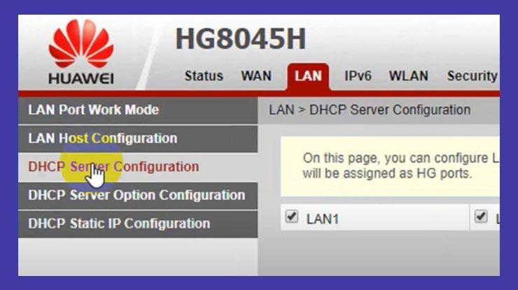 Buka Menu DHCP Server Configuration