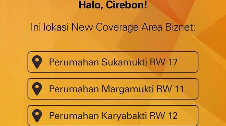 Area Coverage Biznet di Cirebon
