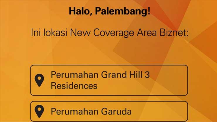 Area Coverage Biznet di Daerah Palembang
