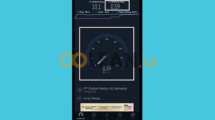 Hasil Kecepatan Upload