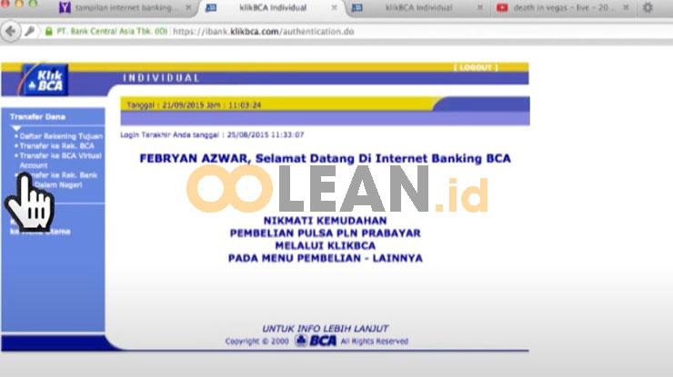 Transfer ke BCA Virtual Account