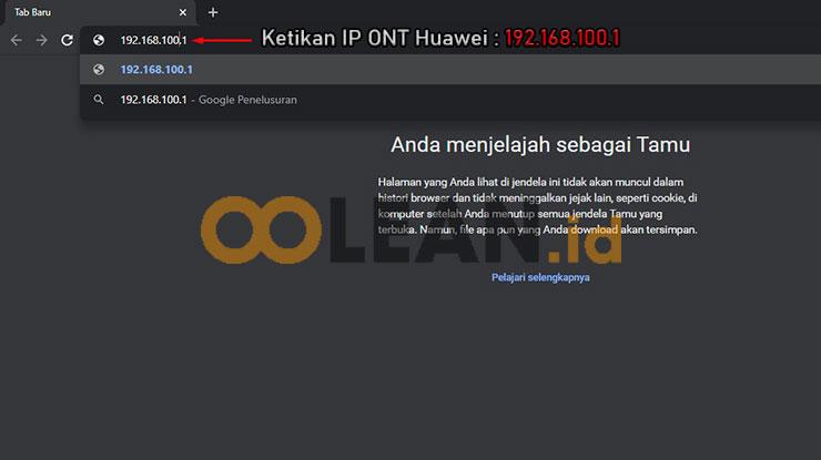 Ketik IP Router Huawei