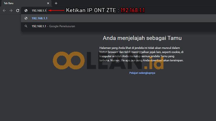 Ketik IP Router ZTE