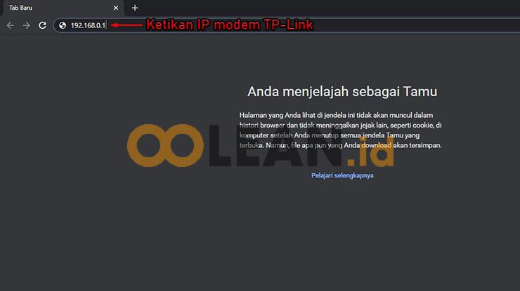 Ketikan IP Modem TP Link untuk Menyembunyikan Wifi MyRepublic