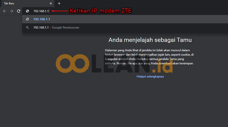 Ketikan IP Modem ZTE untuk Menyembunyikan Wifi MyRepublic