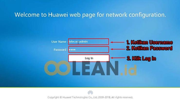 Lakukan Login Modem Huawei