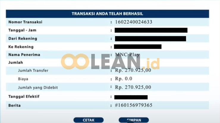 Bayar MNC Play via iBanking Mandiri Berhasil