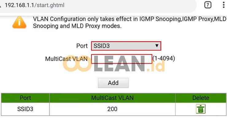 Tentukan Port Multicast VLAN